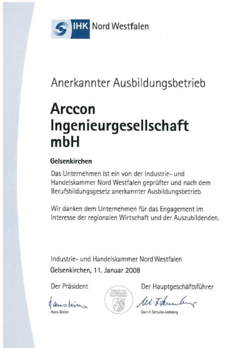 IHK Ausbildungsbetrieb Arccon Ingenieurbüro Gelsenkirchen