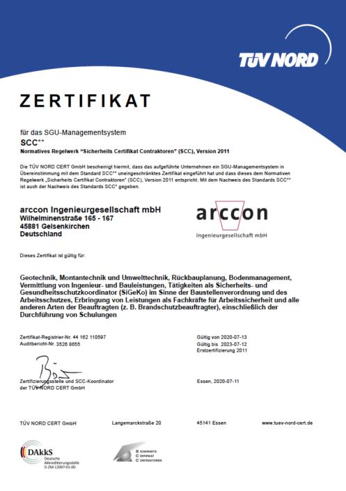 SCC Zertifikat Arccon Ingenieurbüro Gelsenkirchen